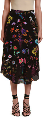 Stella McCartney Dark Floral-Print Silk Midi Skirt