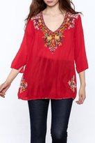 Johnny Was Red Embroidered Tunic Top