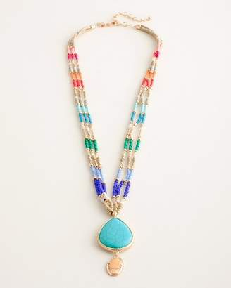 Chico's Chicos Long Multi-Colored Seed Bead Pendant Necklace