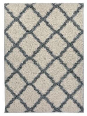 "Charlton Home Bomar Geometric Trellis Shag Gray/Black Area Rug Size: Rectangle 3'3"" x 5'"