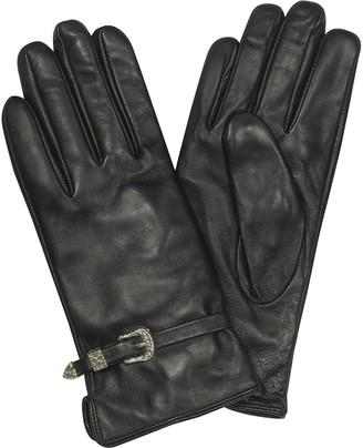 Roccobarocco Biryani Black Leather Women's Gloves w/Buckles