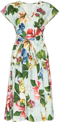 Dolce & Gabbana Belted Floral-Print Dress