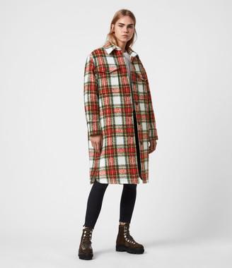 AllSaints Nia Wool Blend Check Coat