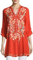 Johnny Was Nikky Embroidered Georgette Long Tunic, Orange, Petite