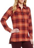 Pendleton Cotton Flannel Long Sleeve Half Zip Burnt Brick Plaid Tunic