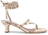 Paris Texas Faded Python Print Wrap Sandal in Faded Natural | FWRD