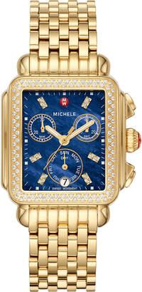 Michele Signature Deco Diamond Watch, Gold/Blue