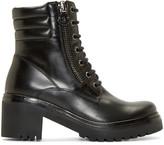 Moncler Black Leather Viviane Combat Boots