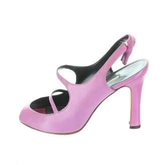 Manolo Blahnik Purple Leather Sandals