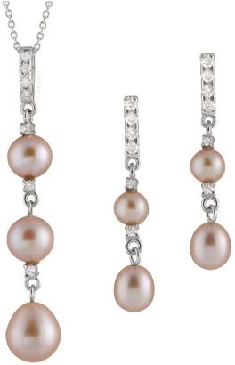 Splendid Pearls Rhodium Over Silver 5.5-8.5Mm Pearl Necklace & Earrings Set