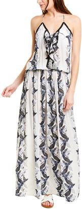 Taj By Sabrina Crippa Smocked Waist Silk Maxi Dress