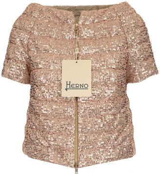 Herno Sequin Short Sleeve Padded Jacket