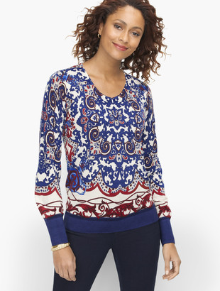 Talbots Soft Merino V-Neck Sweater - Medallion Print