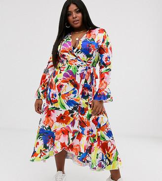 Liquorish Curve Liquorish Plus wrap front midi tea dress in floral print-Multi
