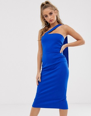 Asos Design DESIGN one shoulder sash midi dress-Blue