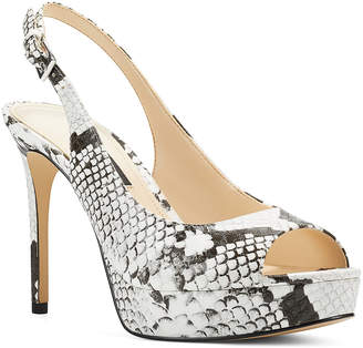 Nine West Women's Pumps WHMTX - Gray Snake-Embossed Elle Leather Slingback Pump - Women