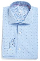 Bugatchi Men's Trim Fit Dot & Check Dress Shirt