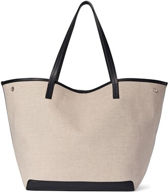 The Row Extra Large Park Linen & Leather Tote