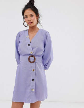 Moon River multi buttondown stripe dress-Blue