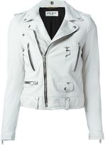 Saint Laurent cropped biker jacket - women - Cotton/Lamb Skin/Cupro - 38