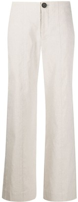 Vince High Rise Linen Straight Leg Trousers