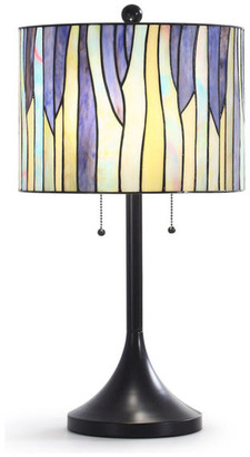 "Homeglam Brand BAROSSA 25""H Tiffany Table Lamp, Purple"
