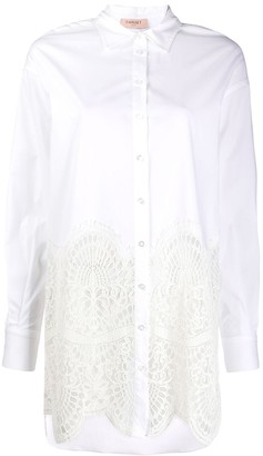 Twin-Set Oversized Lace Insert Shirt