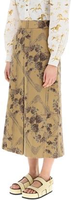 Ganni Jacquard Brocade Midi Skirt