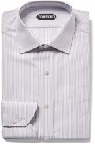 Tom Ford Grey Slim-fit Striped Cotton Shirt