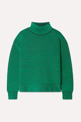 Nagnata - + Net Sustain Striped Ribbed Organic Cotton Turtleneck Sweater - Jade