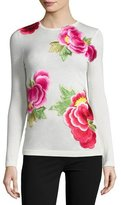 Naeem Khan Long-Sleeve Floral-Appliqué Sweater, Ivory/Pink