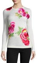 Naeem Khan Long-Sleeve Floral-Appliqué Sweater, Ivory/Pink