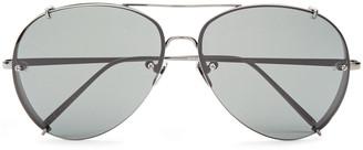 Linda Farrow Aviator-style Gunmetal-tone Sunglasses