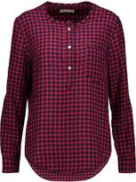 Etoile Isabel Marant Reece gingham crinkled-chambray blouse