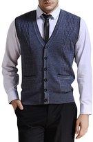 Zicac Men's V-neck Jacquard Weave Vest Rhombus Pattern Knitwear Sweater Vest Waistcoat (XL, Gray)