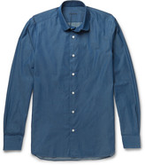Caruso - Slim-fit Penny-collar Cotton-chambray Shirt