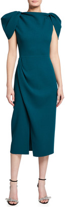 Oscar de la Renta Draped-Sleeve Slit Midi Day Dress