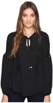 Romeo & Juliet Couture Long Sleeve Lace-Up Detailed Top