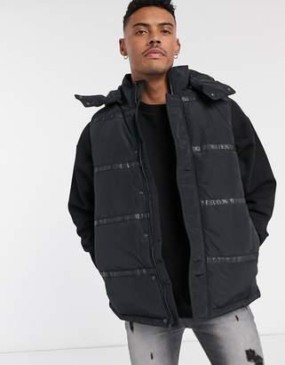 True Religion tape puffer vest in black