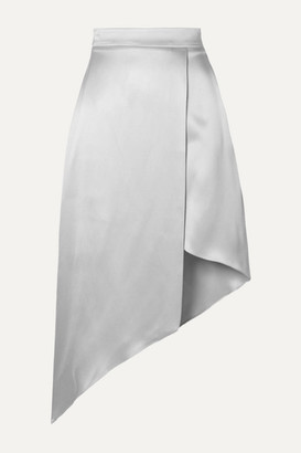 Cushnie Asymmetric Wrap-effect Silk-charmeuse Midi Skirt - Silver