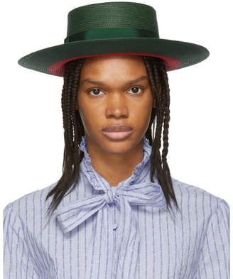 Gucci Green and Red Straw Hat