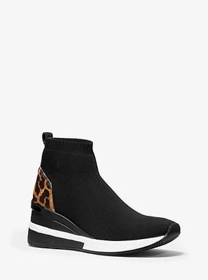 Michael Kors Skyler Leopard-Print Stretch-Knit Sock Sneaker