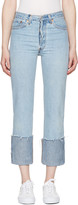 RE/DONE Re-done Blue High-rise Straight Cuffed Jeans