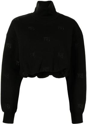 Alexander Wang Logo Embroidered Cropped Sweatshirt Top