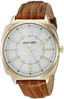 Nine West Women's NW/1728WMHY Swarovski Crystal Accented Gold-Tone and Honey Brown Leather Strap Watch
