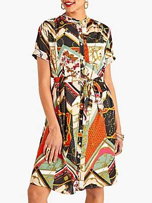 Yumi Chain Print Shirt Dress, Multi