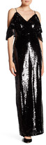 ABS by Allen Schwartz Sequin Cold Shoulder Gown