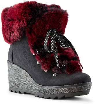 Cougar Penelope Genuine Rabbit Fur Trim Waterproof Lace-Up Boot