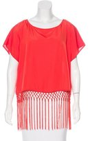 MICHAEL Michael Kors Fringe-Trimmed Short Sleeve Top w/ Tags