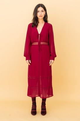 LIENA The Kipling, Lacetrim Midi Dress in Burgundy